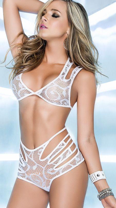 cool women in white lingerie