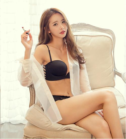 cool Korean girl wearing lingerie